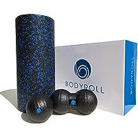 Faszienrollen Set - mit Faszienrolle (14x33cm) Faszienball (8cm) und Duoball (8x16cm) inkl. Trainingsanleitung im Set - EPP Schaumstoffrolle auch als Massagerolle und Yoga-Rolle