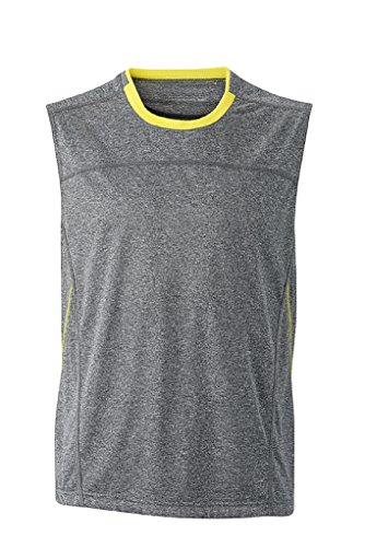 JAMES & NICHOLSON Atmungsaktives Lauf-Top (XL, grey-melange/lemon)