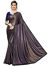 Anni Designer Black Color Lycra Golden Flower Print Saree With Blouse Piece