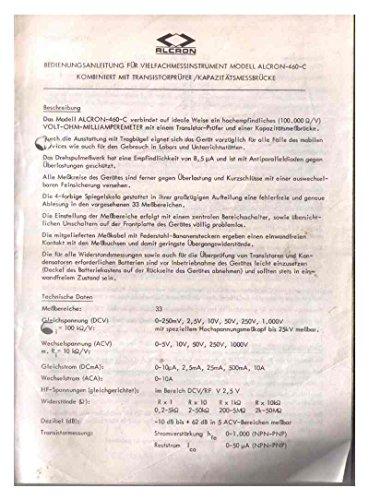 Alcron-460-C -- Multimeter Multimessgerät Vielfachmessgerät -- VOLT-OHM-MILLIAMPEREMETER -- Bedienungsanleitung mit Schaltplan
