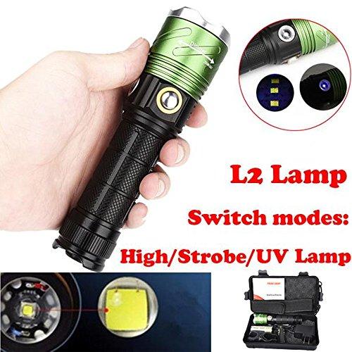 500M Unterwasser Tauchen LED Taschenlampe, Siswong 1 Set Zoombar Taktik Jagd Klein Flashlight Handlamp UV Lampe+ 18650 Batterie + AC Ladegerät + Portabler Koffer