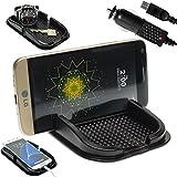 Mobilefox KFZ Anti-Rutsch Matte integr. Handy Halterung + Ladekabel SET für LG G3/G4/G4c/G4s/Stylus - Rutschfestes Auto Halter Pad