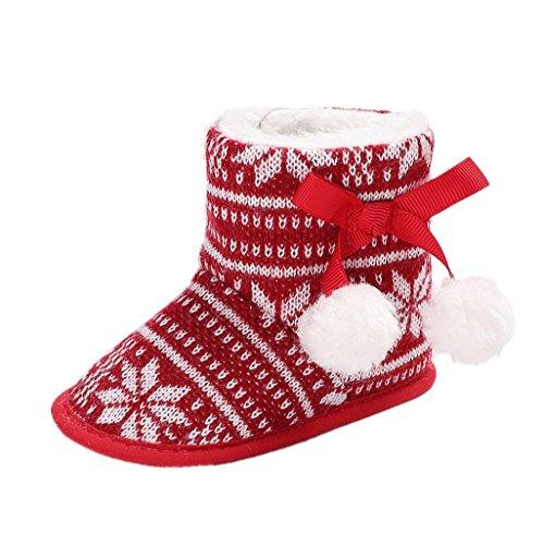 Baby Weihnachtsschuhe, Auxma Für Neugeborenes Baby Mädchen Jungen Kleinkind Weihnachten Winter Weiche Sohle Schnee Booties Slipper Schuhe für 0-18 Monate (13cm/12-18 Monate) (Bootie Niedriger)