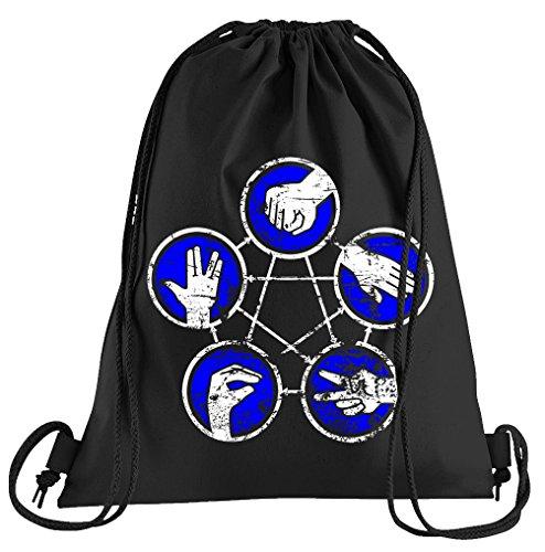 T-Shirt People Stein Papier Schere Echse Spock Rules Sportbeutel - Bedruckter Beutel - Eine schöne Sport-Tasche Beutel mit Kordeln