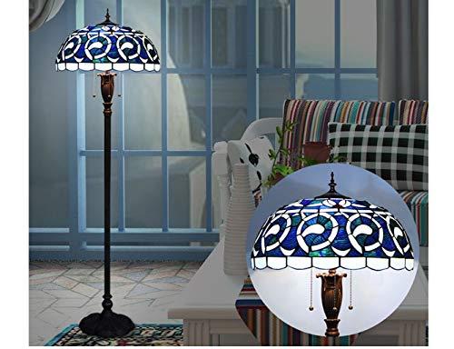 AMOS Europäische Tiffany-Stil-Stehlampe, Schlafzimmer, Wohnzimmer, Vintage schmiedeeiserne blaue Glas-Stehlampe, Led-Stehleuchte im mediterranen Stil -