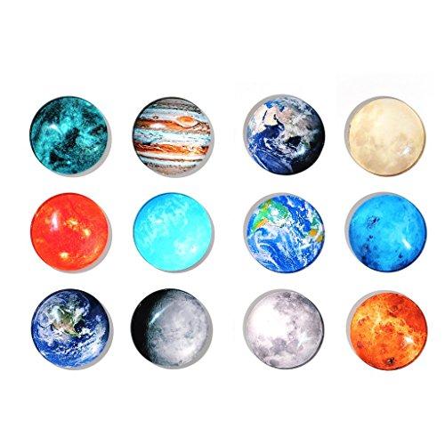 """12Kühlschrankmagnete """"Planeten"""" –Set Büromagnete, trocken abwischbare Tafeln, Kühlschrankmagneten für Whiteboard, Karten, Dekoration, Selbermachen und Bastelarbeiten, Büroorganisation, Planetary Planeten Karte"""