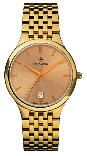 GROVANA 2013.1111 Men's Quartz Swiss Watch with Gold Dial Analogue Display and Gold Plated Stainless Steel Bracelet