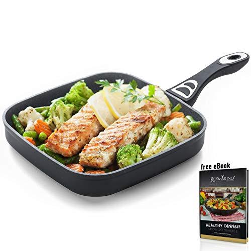 ROSMARINO Grillpfanne für Induktion 26 cm - Bratpfanne mit 5 Lagen Mineralien Beschichtung für alle Kocheflder -No.1. Induktionsgeeignete Steakpfanne für Grill