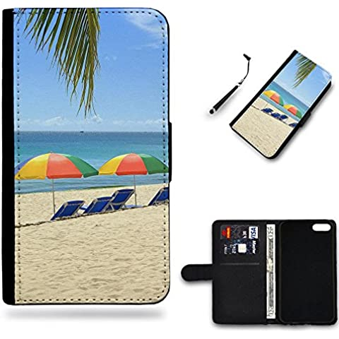 Nuovo Pelle Portafoglio della copertura della cassa borsa Custodia protettiva Huawei P9 // Holiday Beach Sunbeds Umbrella chairs Ocean Holiday Beach Sunbeds Umbrella chairs Ocean Gift Shopping