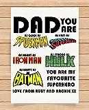 Cadeaux Cadeau personnalisé pour Daddy Dad Anniversaire de Noël Super Héros Spiderman Superman Iron Man Hulk Batman Impressions Affiches Décoration Murale Décorations d'intérieur Unframed Print