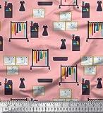 Soimoi Rosa Georgette di Viscosa Tessuto bacheca & Vestiti Moda Tessuto Stampato da Metro 42 Pollici Larghi