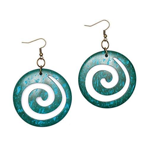 Idin pendientes hechos a mano - turquesa espirales modelo, hecho de co