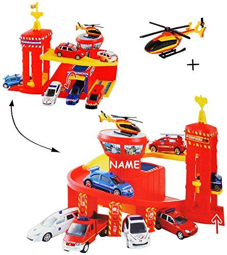 alles-meine.de GmbH Spielset: Feuerwehrstation mit Hebebühne / Lift - Rampe + Werkstatt + 5 Garagen + Flugzeug - incl. Name - 1/64 - passend auch für 3-D Spielmatte Straße - Feue.. - Baustelle Matchbox