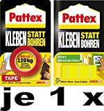 Pattex Kleben statt Bohren / Kombi-Spar-Set (1 x Klebeband + 1 x Klebe-Strips)