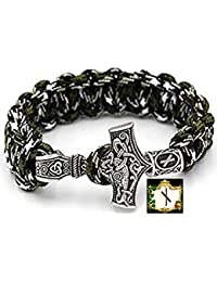 Nauthiz Rune–Military Paracord Bracelet Green Camouflage Outdoor Viking Viking Thor's Hammer Antique Silver Coloured 100% Handmade and 25cm Circumference No. 15