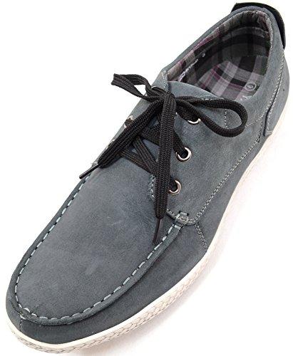 Scarpe da uomo scamosciate, con lacci, estive, da barca , Grigio (Grey), 44.5