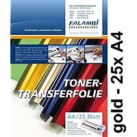 metallic Toner-Thermo-Transferfolie DIN A4 für Laminiergerät, gold, Tonertransferfolie (gold - 25 x A4)