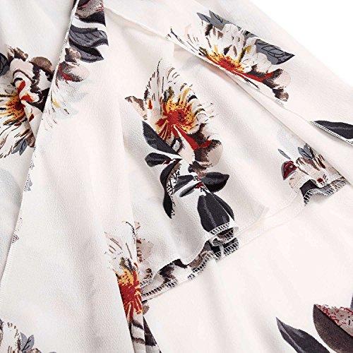 Minetom Femmes Été Maxi Elegante Col en V Longue Robe Bohême à Manche Courte Rétro Imprimé Floral Cocktail Soiree Dress Blanc