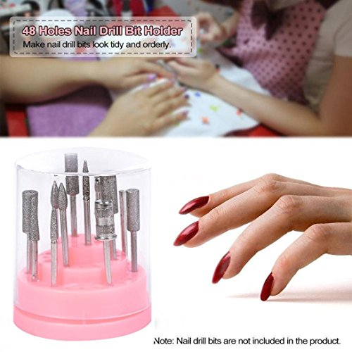 Igemy 48hole Rose Organiseur Manucure Boîte Affichage à ongles Foret support
