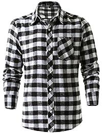 Allegra K Camisa De Mangas Largas para Hombres Estilo Militar con Botones