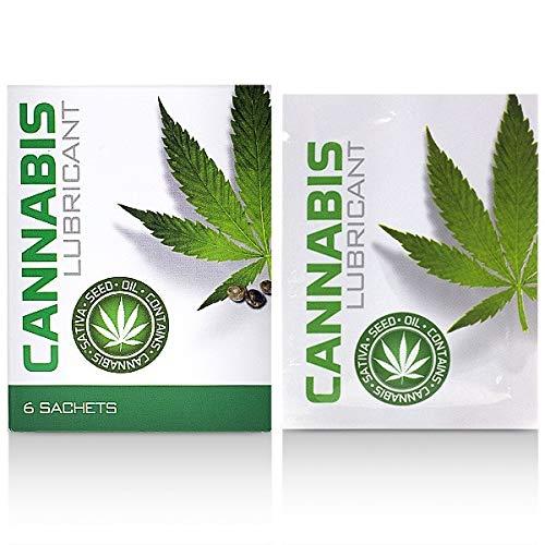 Cobeco Cannabis Gleitmittel 6x 4 ml Sachets Gleitgel auf Wasserbasis mit Sativa Hanföl - 24 ml Massagegel