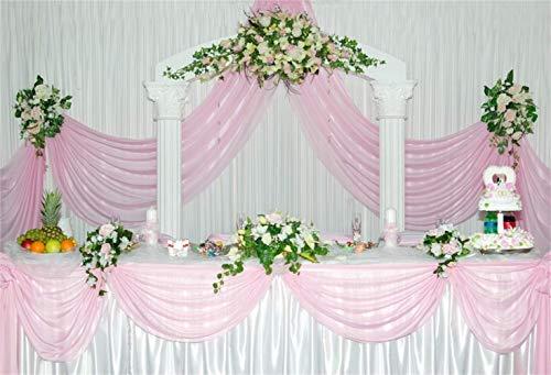 AdaCrazy Sweety Indoor Pink Tone Hochzeit Dessert Tisch Hintergrund 8x6.5ft Graceful Floral Rosa Vorhang Volant Hochzeitstorte Hintergrund Hochzeitsfeier Schießen Brautdusche Braut Bräutigam Porträt -