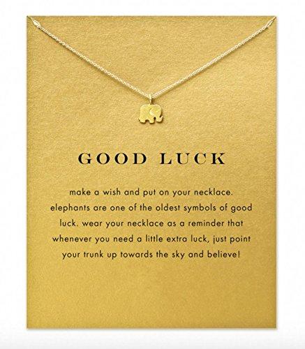 Halskette Elefant 'Good Luck' Talisman Gold Farbe - mit der Geschenkkarte