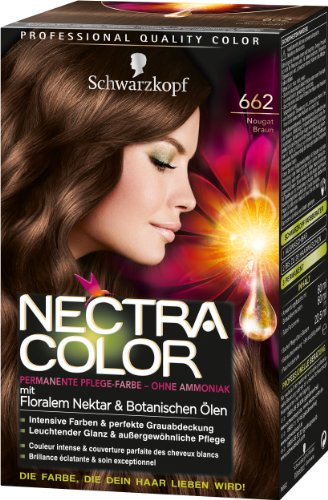 Nectra Color Permanente Pflege-Farbe, 662 Nougat Braun, 3er Pack (3 x 143 ml) -