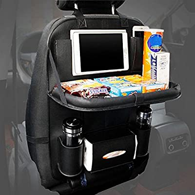 Car Back Seat Organiser, Foldable Car Dining Table with Tablet Holder Pocket Multi-Pockets Back Seat Protector for Baby Kids and Car Tidy Kids( Black,1PC ) - low-cost UK light store.