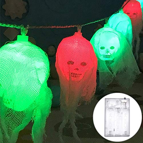 String Light 2.5m Gaze Ghost Head Design Buntes Licht Halloween Serie LED String Licht, 20 LEDs 3 x AA Batterien Box Betrieben Party Requisiten Fee Dekoration Nachtlampe LED dekoratives Licht