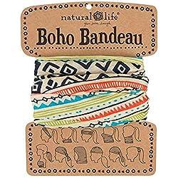 Natural Life Boho Bandeau Crema y Negro Patrón Geométrico