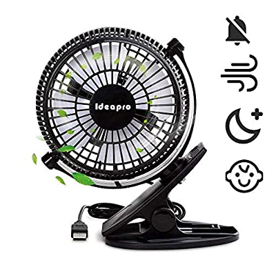 Mini USB Clip Desk Fan,Quiet Operation,Desk Fans,mini fan,table fan,2 Speed Portable Cooling Fan USB Powered by NetBook,Power Bank,and PC,360° up and down,for Home Office (Black1)