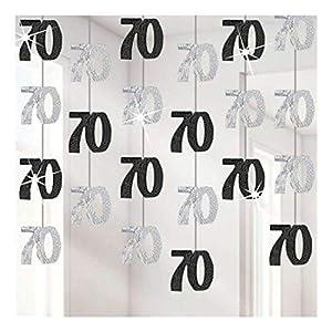 Gifts 4 All Occasions Limited SHATCHI-1120 Shatchi-6 x 70TH - Guirnalda de decoración para cumpleaños, color negro