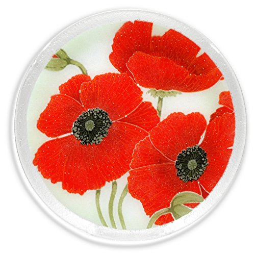 Peggy Karr Handcrafted Art Glass Round Red Poppies Plate, 11-inch, Multicolor By Peggy Karr