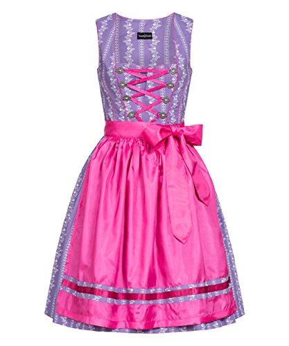 Tracht & Pracht - Damen 100% Baumwolle - Dirndl Set 2 Teilig - Kleid Landhaus Lila - 38