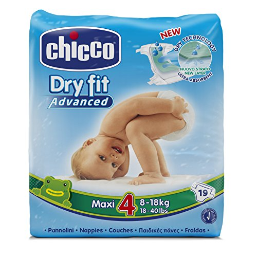 Chicco DryFit - Pack de 19 pañales ultra absorbentes, talla 4, 8-18 Kg