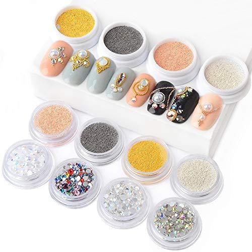 Lot de 14 boîtes/lot de perles 3D en métal 0,4 mm/0,6 mm en acier inoxydable pour ongles Caviar Perles AB Coloré Fond plat Opale Nail Art Strass Décorations