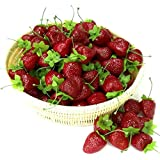 Gresorth 30pcs Artificiel Lifelike Rouge Fraise Décor Faux Fruits Maison Fête Festival Décoration