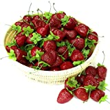 Gresorth 30pcs Artificiale Rosso Fragola Decorativo Falso Frutta Casa Festa Festival Decorazione