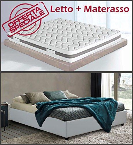 Sararreda promozione golden relax letto contenitore sommier matrimoniale con materasso waterfoam, guanciali e coprimaterasso - made in italy