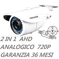 QIHAN® - Telecamera bullet videosorveglianza professionale 2 IN 1 AHD e Analogica con Joystick, 1.3 Mxp, 720P, 36 Led, Ottica 2.8-12 mm, Chip 1/4 HD CMOS, Risoluzione 1280(H) x 720 (V), Impermeabile Grado di protezione IP66, Alimentazione 12V, Lingua Italano. mod: QH3232NOCNO