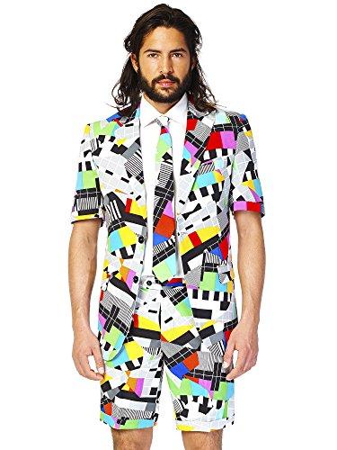 nzug für Herren besteht aus Sakko, Hose und Krawatte mit 80's Tv Print (80's Kostüm Männer)