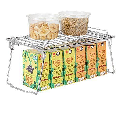 mDesign Estante apilable para almacenaje de Cocina - Repisa metálica de Cocina con Patas Plegables - Moderno Organizador de armarios para la vajilla, latas de conservas y Especias - Plateado