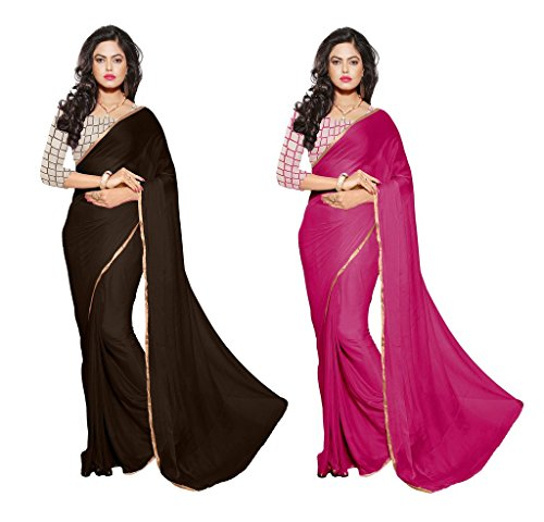 Reveka Combo Pack Of Brown & Red Plain Chiffon Sarees With Blouse