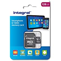Integral 128 GB microSDXC Class 10 Memory Card for Smartphones and Tablets, Up to 80 MB/s, U1 Rating