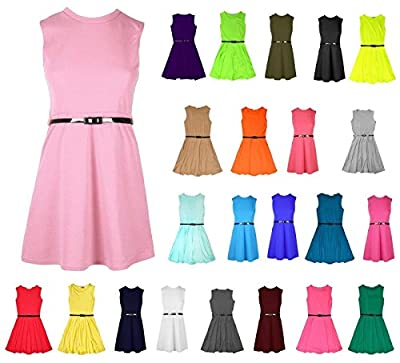 RSVH Girls Skater Kids Sleeveless Party Fit Flare Belted Summer Dress Ages 3-14 Years : everything 5 pounds (or less!)