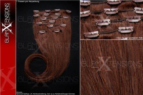 Remy Clip In Extensions Set 100% Echthaar 7 teilig 70g hochwertige Haarverlängerung 40cm Clip-In Hair Extension Nr. 2 (Zopf Perücke Indischer)