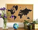 Milimetrado Weltkarte Pinnwand aus Kork/Weltkarte Poster Kork Pinnwand mit Kiefernholz Rahmen - 50 x 70 cm - Naturel