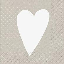 Servietten 3-lagig 33 x 33 cm Herzen Motiv 3 weiße Herzchen Hochzeit Verlobung