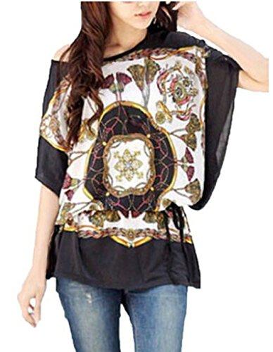 Donna Seta stampato Tshirt CAMICIA Pattern39